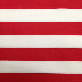 "Red and White 1"" Striped Poly/Cotton Broadcloth Fabric"