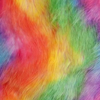 Tie-dye Rainbow Faux Fur Fabric