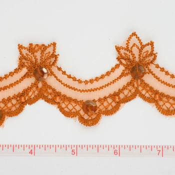 Orange Sequined Lace Trim