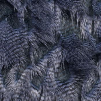 Denim Blue High/Low Luxury Feather Fur Fabric