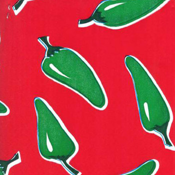 Green Chilis on  Red Oilcloth