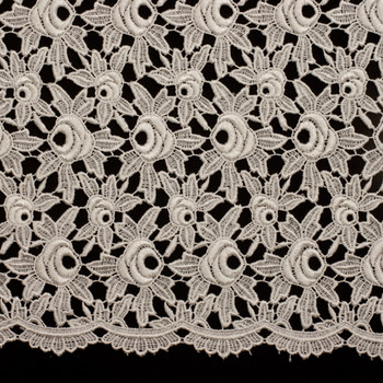 Ivory Chunky Designer Fashion Lace Fabric