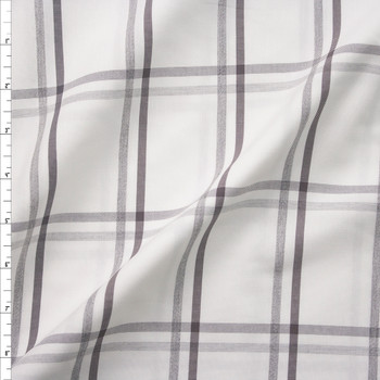 Grey and White Windowpane Plaid Midweight Cotton Poplin from 'Brooks Brothers' Fabric By The Yard