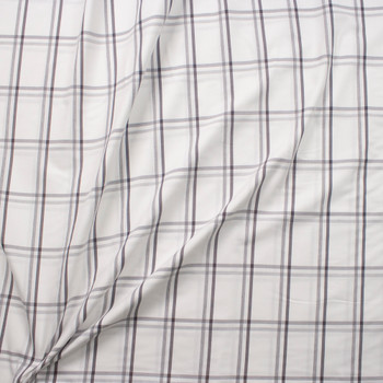 Grey and White Windowpane Plaid Midweight Cotton Poplin from 'Brooks Brothers' Fabric By The Yard - Wide shot