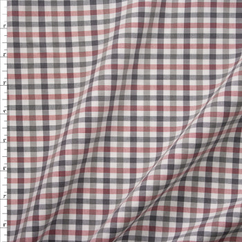Red, White, Grey, and Blue Plaid Midweight Cotton Poplin from 'Brooks Brothers' Fabric By The Yard