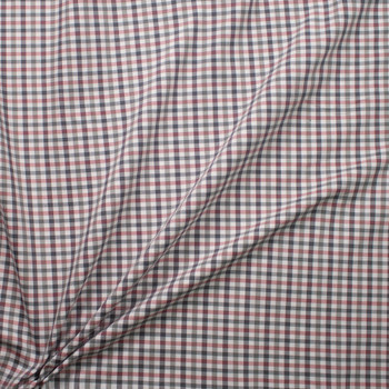 Red, White, Grey, and Blue Plaid Midweight Cotton Poplin from 'Brooks Brothers' Fabric By The Yard - Wide shot