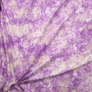 Lavender, White, and Ivory Tie Dye Cotton Lawn Fabric By The Yard - Wide shot