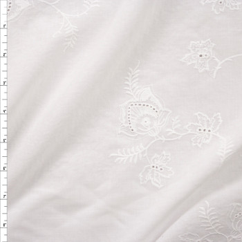 Warm White Embroidered Scrolling Floral Cotton Eyelet Fabric By The Yard