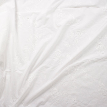 Warm White Embroidered Scrolling Floral Cotton Eyelet Fabric By The Yard - Wide shot