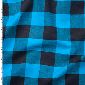 Turquoise and Black Buffalo Plaid Cotton Lawn Fabric By The Yard