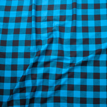 Turquoise and Black Buffalo Plaid Cotton Lawn Fabric By The Yard - Wide shot