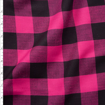 Hot Pink and Black Buffalo Plaid Cotton Lawn Fabric By The Yard