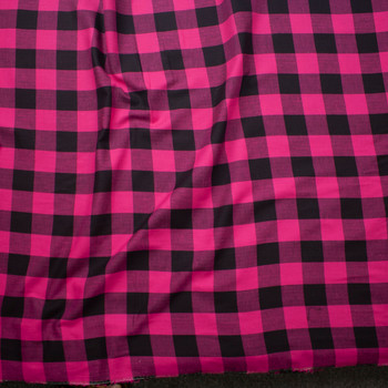 Hot Pink and Black Buffalo Plaid Cotton Lawn Fabric By The Yard - Wide shot