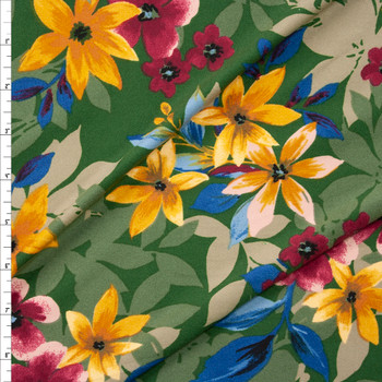 Hot Pink, Tan, and Teal Layered Floral on Olive Double Brushed Poly Spandex Fabric By The Yard