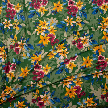 Hot Pink, Tan, and Teal Layered Floral on Olive Double Brushed Poly Spandex Fabric By The Yard - Wide shot