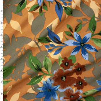 Brown, Green, and Teal Layered Floral on Tan Double Brushed Poly Spandex Fabric By The Yard