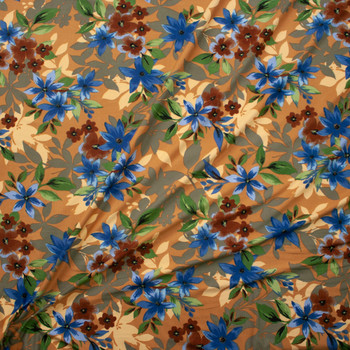 Brown, Green, and Teal Layered Floral on Tan Double Brushed Poly Spandex Fabric By The Yard - Wide shot