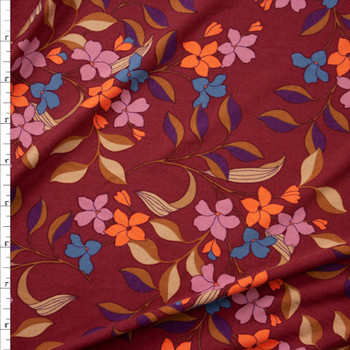 Peach, Lilac, and Turquoise Retro Floral on Burgundy Double Brushed Poly Spandex Fabric By The Yard