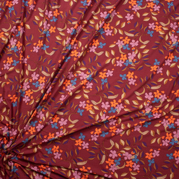 Peach, Lilac, and Turquoise Retro Floral on Burgundy Double Brushed Poly Spandex Fabric By The Yard - Wide shot