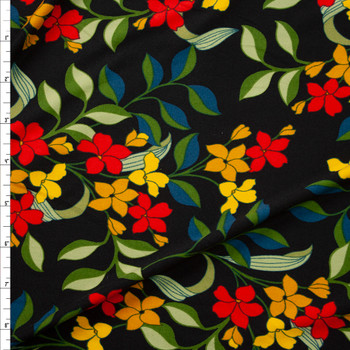 Red, Orange, and Olive Retro Floral on Black Double Brushed Poly Spandex Fabric By The Yard