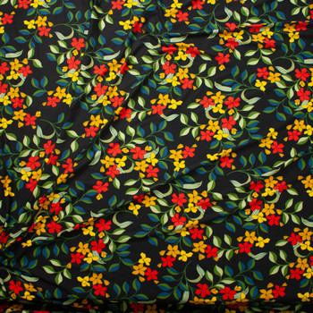 Red, Orange, and Olive Retro Floral on Black Double Brushed Poly Spandex Fabric By The Yard - Wide shot