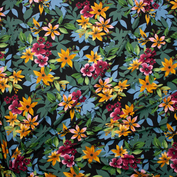Yellow, Olive, Hot Pink, and Light Blue Layered Floral on Black Double Brushed Poly Spandex Fabric By The Yard - Wide shot