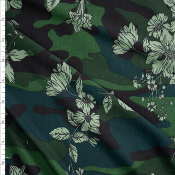 Sage Floral on Camouflage Double Brushed Poly Spandex Fabric By The Yard