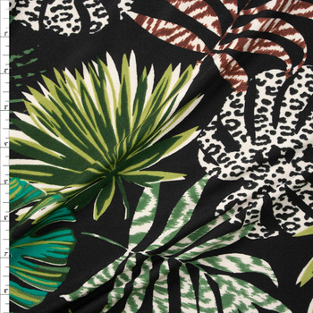 Fronds and Animal Prints on Black Double Brushed Poly Spandex Fabric By The Yard