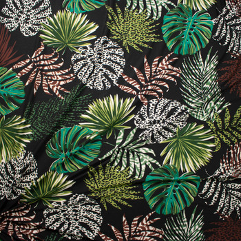 Fronds and Animal Prints on Black Double Brushed Poly Spandex Fabric By The Yard - Wide shot