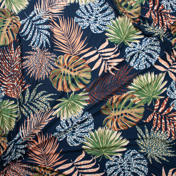Fronds and Animal Prints on Navy Double Brushed Poly Spandex Fabric By The Yard - Wide shot