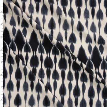 Black and Ivory Ikat Style Tie Dye Double Brushed Poly Spandex Fabric By The Yard