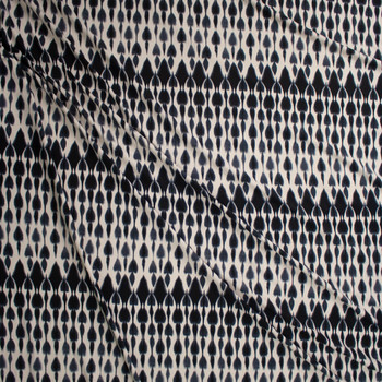 Black and Ivory Ikat Style Tie Dye Double Brushed Poly Spandex Fabric By The Yard - Wide shot