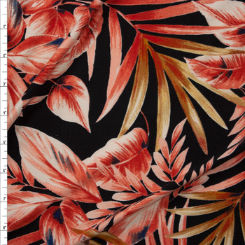 Peach and Tan Leaves and Fronds on Black Double Brushed Poly Spandex Fabric By The Yard