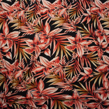 Peach and Tan Leaves and Fronds on Black Double Brushed Poly Spandex Fabric By The Yard - Wide shot