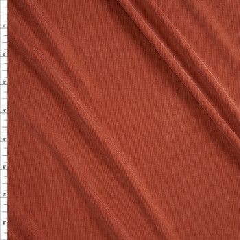 Burnt Orange Ribbed Modal Cupro Knit Fabric By The Yard