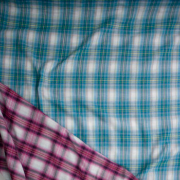Turquoise, White, and Hot Pink Reversible Plaid Cottonn Double Gauze Fabric By The Yard - Wide shot
