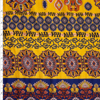 Ornate Floral on Golden Yellow Rayon Jaquard Fabric By The Yard