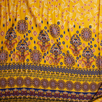 Ornate Floral on Golden Yellow Rayon Jaquard Fabric By The Yard - Wide shot