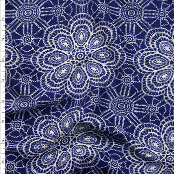 Ivory Lace Look Floral on Navy Blue Rayon Gauze Fabric By The Yard