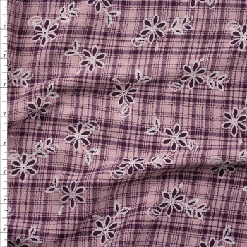 Plum and White Floral on Pink and Plum Plaid Rayon Gauze Fabric By The Yard