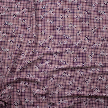Plum and White Floral on Pink and Plum Plaid Rayon Gauze Fabric By The Yard - Wide shot