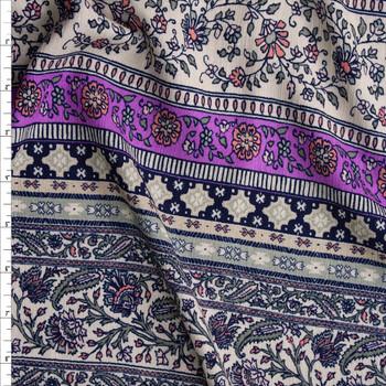 Bright Lilac, Ivory, Sage, and Coral Horizontal Boho Stripe Rayon Gauze Fabric By The Yard
