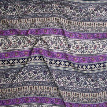Bright Lilac, Ivory, Sage, and Coral Horizontal Boho Stripe Rayon Gauze Fabric By The Yard - Wide shot