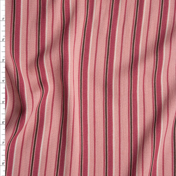 Pink, Brown, and Ivory Vertical Stripe Rayon Gauze Fabric By The Yard
