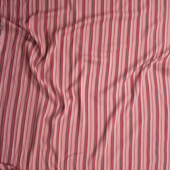 Pink, Brown, and Ivory Vertical Stripe Rayon Gauze Fabric By The Yard - Wide shot