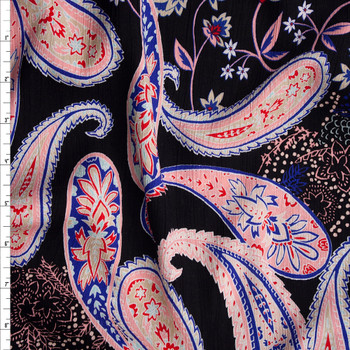 Ornate Floral Paisley Print on Black Rayon Gauze Fabric By The Yard