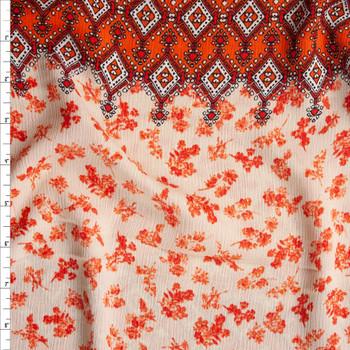 Orange and Ivory Horizontal Ornate Stripe Rayon Gauze Fabric By The Yard