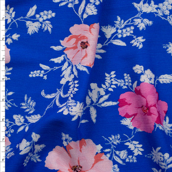Peach, Pink, and Offwhite Floral on Bright Blue Rayon Gauze Fabric By The Yard