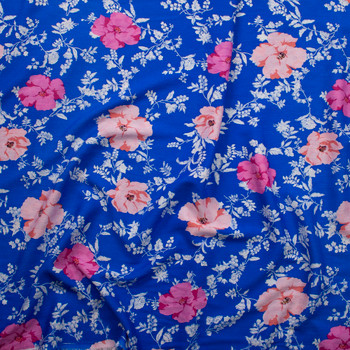 Peach, Pink, and Offwhite Floral on Bright Blue Rayon Gauze Fabric By The Yard - Wide shot