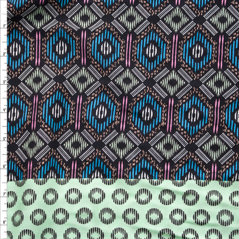 Mint, Turquoise, Hot Pink, and Black Tribal Double Border Print Rayon Challis Fabric By The Yard
